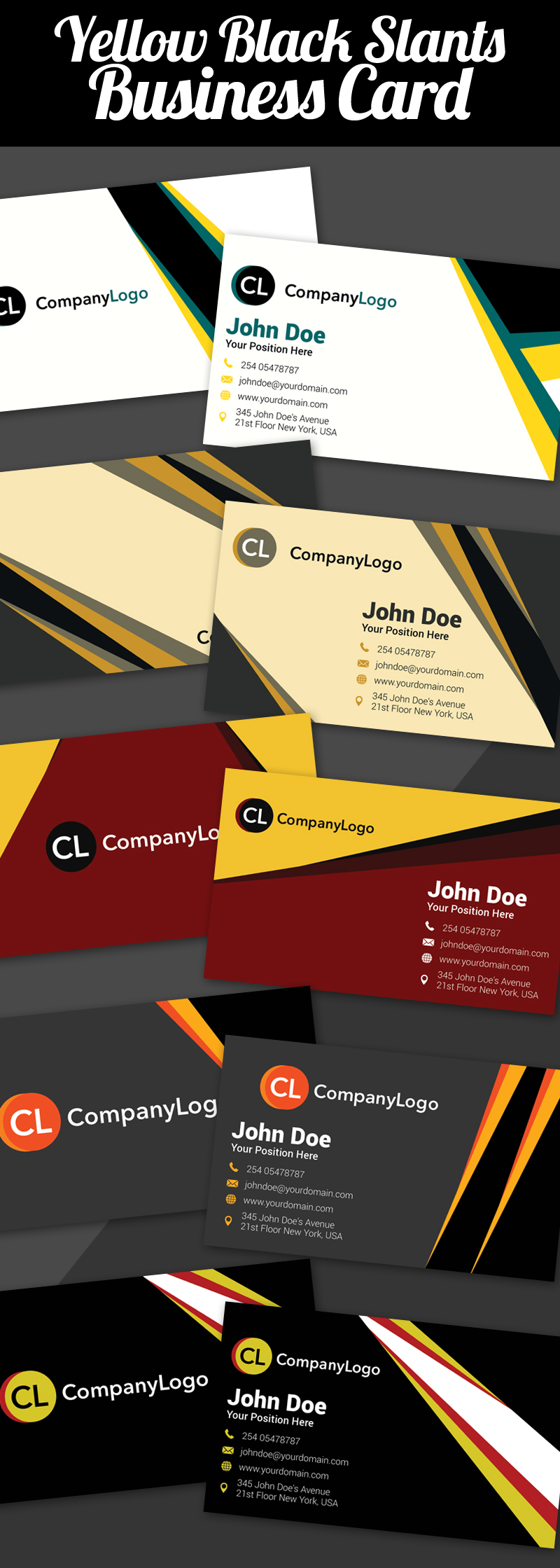 Yellow Black Slants Business Cards
