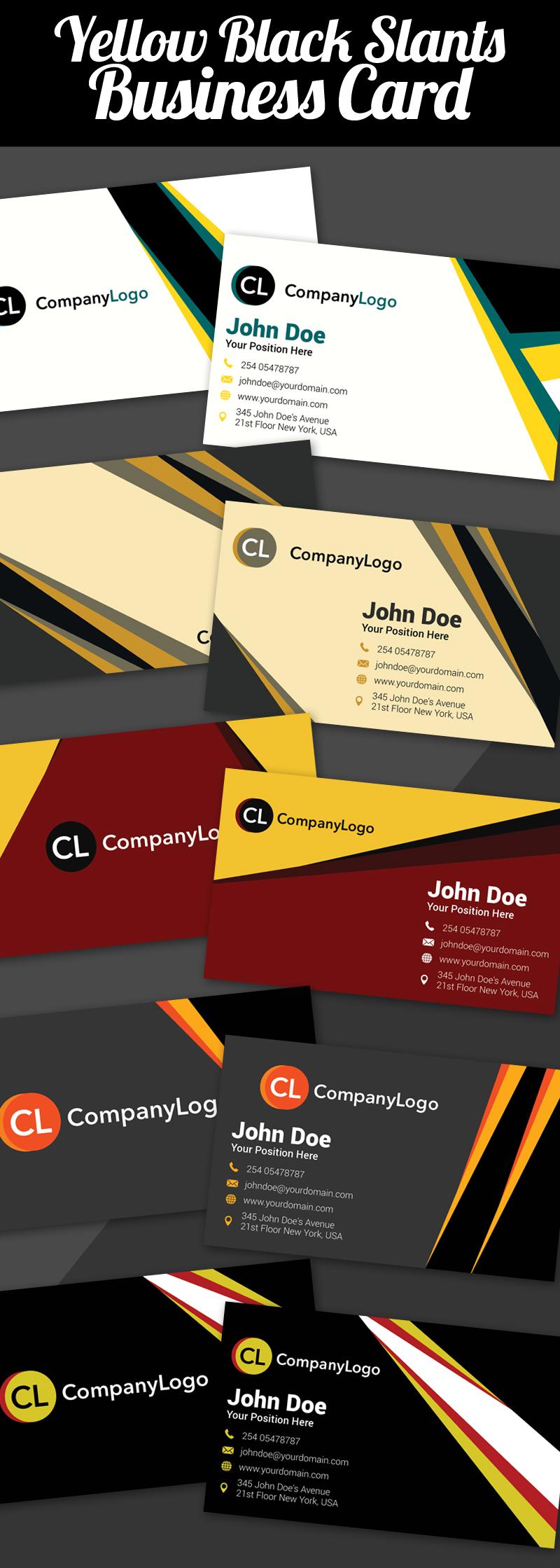 Yellow Black Slants Business Cards